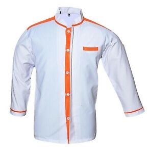 White Chef Coat Contrast Orange Long Sleeves Jacket With