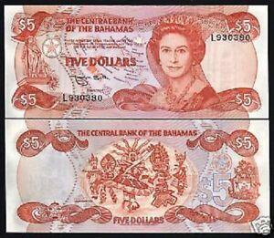 Details About Bahamas 5 Dollars P45 1974 1984 Queen Unc Map Bird Dancer Rare Money Bank Note
