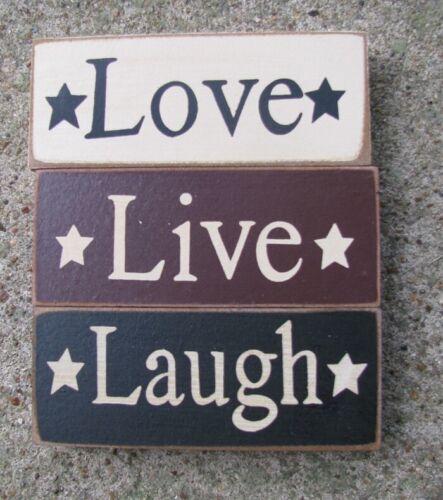 Cream,Burgundy and Blac Wood Blocks 59217 Live Love and Laugh Blocks set of 3