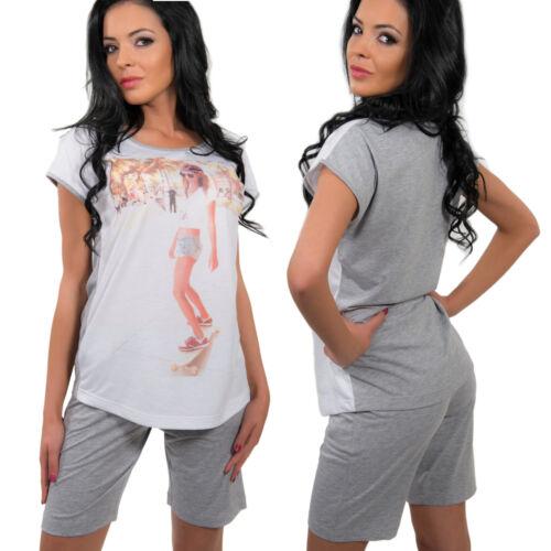 Damen Pyjama Set Langarmshirt Schlafanzug Nachtwäsche Kurzarmshirt Leggings