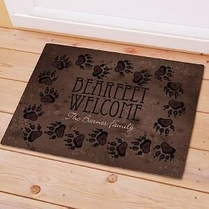 Personalized Bear Feet Doormat Cabin Family Name Welcome