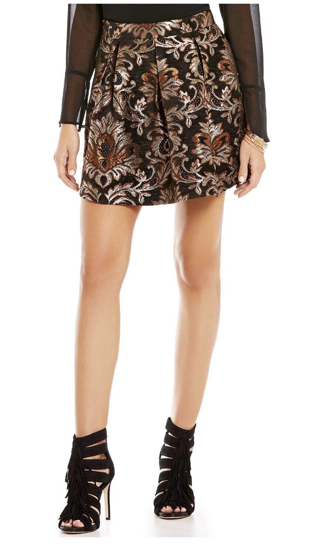 Gianni Bini Lordice Printed Jaquard Mini A-Line Skirt  M  Mixed Metal