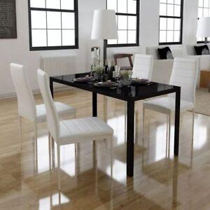 Set Sala Da Pranzo con Tavolo e 4 Sedie Colore Nero e Bianco | eBay