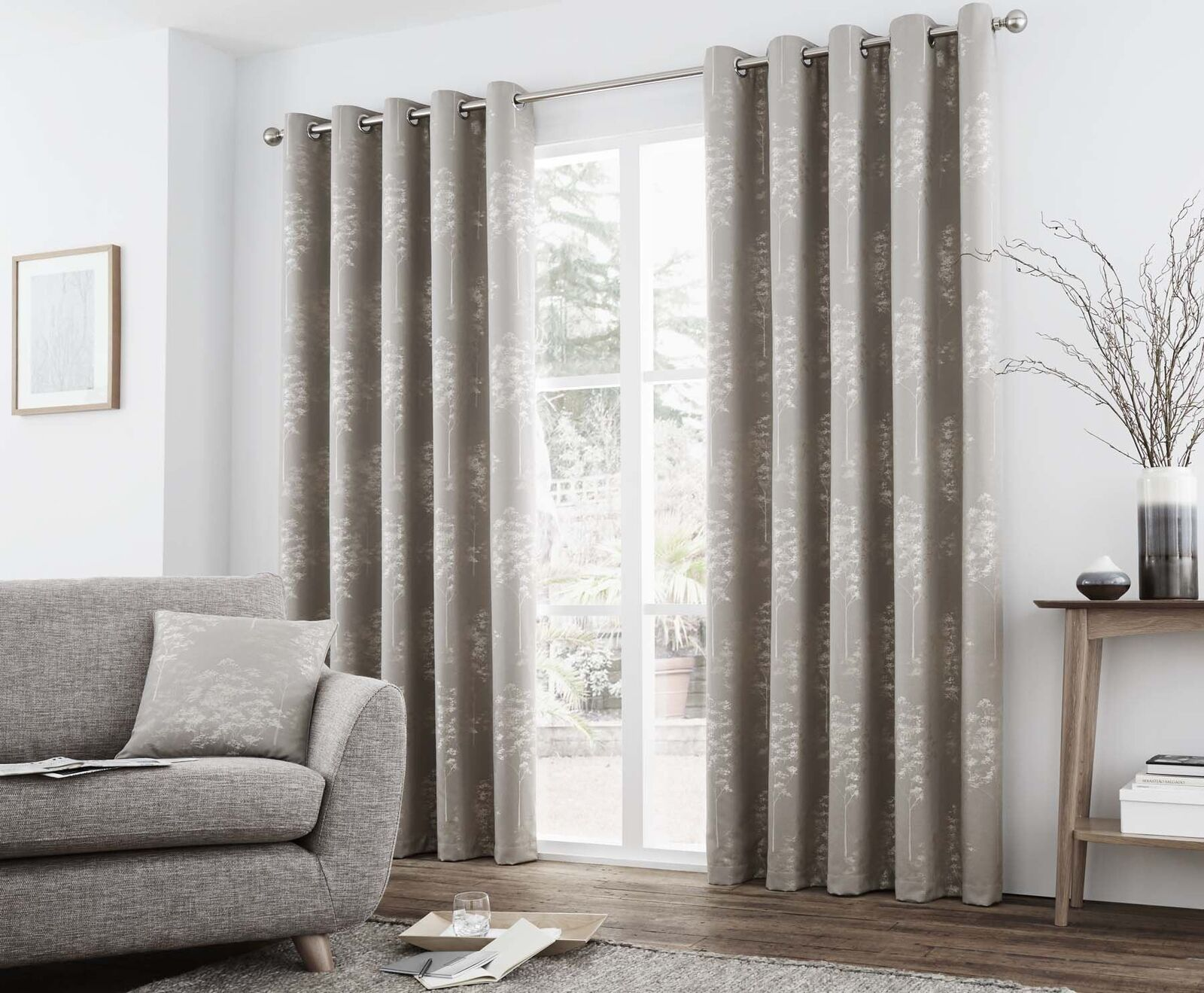 JACQUARD TREES STONE BEIGE HEAVYWEIGHT LINED RING TOP CURTAINS 7 7 7 GrößeS 5cf829