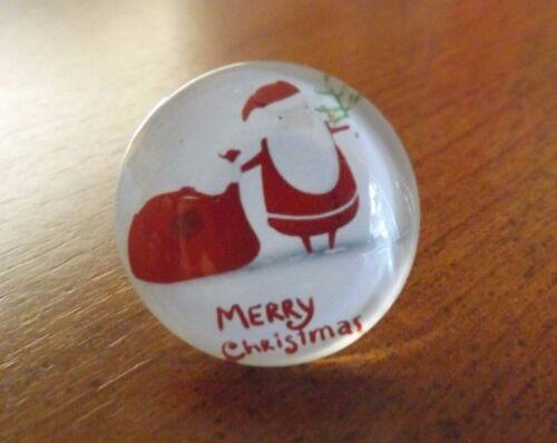 bague argentée réglable adulte 5 mm Père Noël Merry Christmas diamètre 25 mm