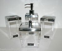 Hotel Balfour 4 Pc Set Clear Acrylic Soap Dispenser+tumbler+tooth+jar,lid