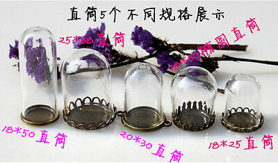Clear Glass Bottle Dome Cover Containers DIY Necklace Pendant Findings 4pcs