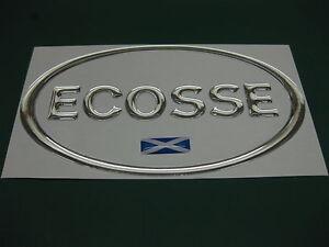 1-Ecosse-Oval-Cromo-Efecto-cupula-Auto-Adhesivo-con-bandera-escocesa