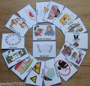 Cartes mémoire de routine également équipés de trousseau ~ ~ ~ communication SEN AUTISM ~ ~ BOY GIRL  </span>