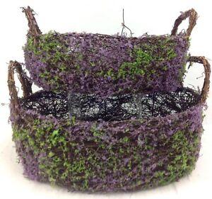 """Vine Heather Baskets w/Handles~Set 2. Wire Frame. 10""""/12"""" Round. Purple,"""