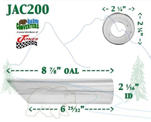 """2 1//16/"""" Chrome Angle Cut Cowboy Exhaust Tip 2 1//4/"""" Outlet 9/"""" Long JAC200 2/"""""""