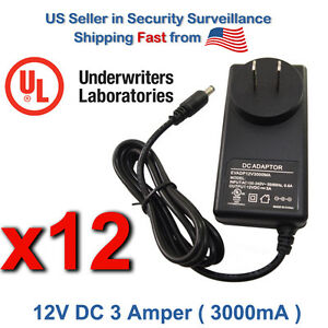 12 Pcs 12V DC 3 Amper Adapter Power Supply for Multipurpose and Security Camera