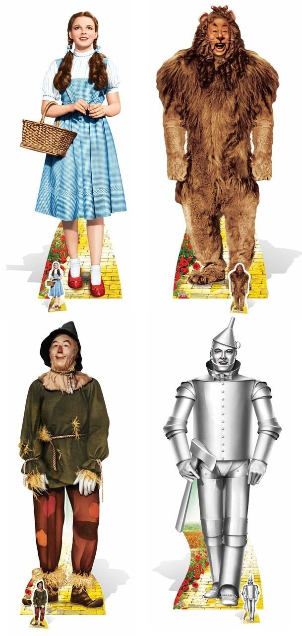 The Wizard of Oz Set of 4 Cardboard Cutouts Dorugehy Lion Scarecrow & Tin Man