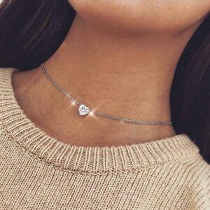 Fashion-Crystal-Heart-Necklace-Pendant-Women-Short-Silver-Chain-Pendant-Chocker