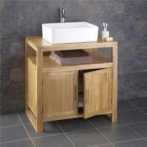 freestanding under sink bathroom storage 75cm wide cube solid oak freestanding bathroom washstand 23229