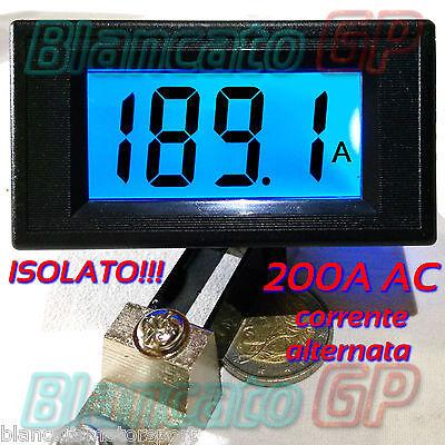 AMPEROMETRO ISOLATO AC 50A corrente alternata DIGITALE DA PANNELLO LCD BLU shunt