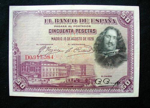 1928 SPAIN Banknote 50 pesetas XF HIGH QUALITY