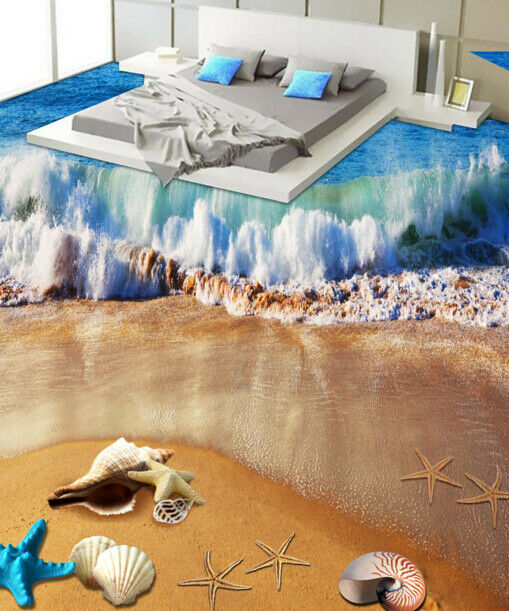 3D Surfing Shells Beach 78 Floor WallPaper Murals Wall Print Decal AJ WALLPAPER