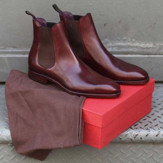 Handmade men brown leather boots, Chelsea dress boots for men, men leather boots