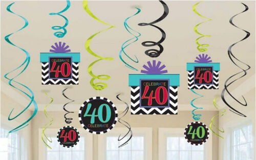 40th BIRTHDAY HANGING SWIRL DECORATION forty party supplies Chevron stripes