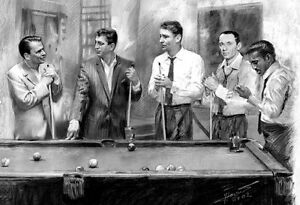 Details About Rat Pack Pool Davis Jr Frank Sinatra Dean Martin Art Printed On Paper By Star