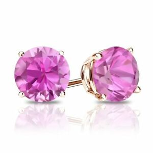 2135926ad19d 2 Ct Round Cut Pink Diamond Earrings in Solid 14k Rose Gold Screw ...