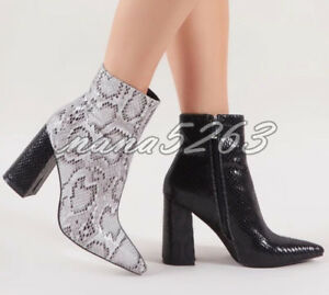 Elegant Winter Stiefeletten Damenschuhe Plattform High Heel Blockabsatz Stiefel