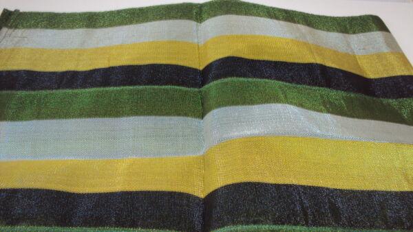 2019 Nuevo Estilo Nigeriano Aso Oke Gele (headtie) - Verde, Amarillo Y Plateado Rayas - 1 Pieza-ver