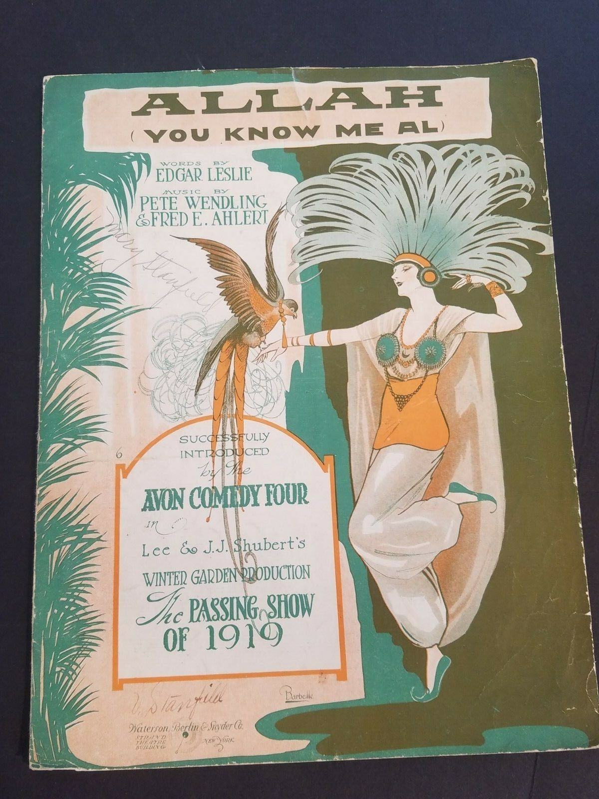 ANTIQUE VINTAGE Sheet Music 1919 Allah You KnoW Me Well Al By Edgar Leslie