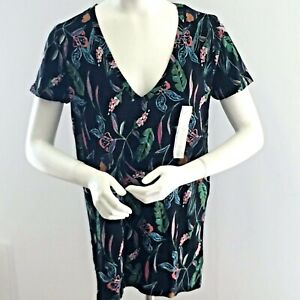 A-N-D-A-New-Day-Target-Women-039-s-Sz-LG-FLORAL-Print-KNIT-Top-V-Neck-New-w-Tags