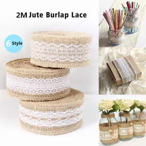 HESSIAN-LACE-Ribbon-Jute-Burlap-Rustic-Chic-Edge-Wedding-Vintage-Craft-Trim-Roll