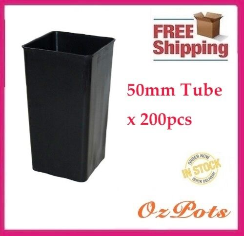 50mm Square Plastic Tube Pots x 200pcs Propagation, Seedling, Cuttings PC