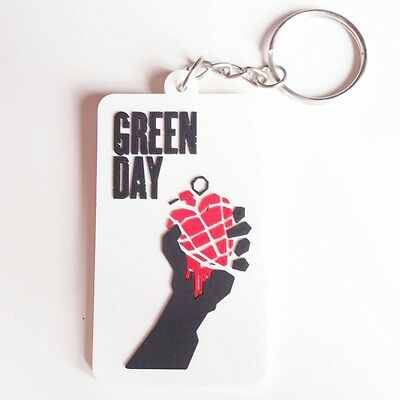 """Green Day Band Rock Music Rubber Key Ring Key Chain 1.5x2.75/"""" Red"""