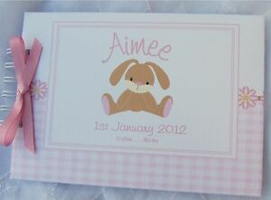 PERSONALISED BABY//1ST BIRTHDAY//EASTER// BUNNY GUEST BOOK //PHOTO ALBUM// SCRAPBOOK