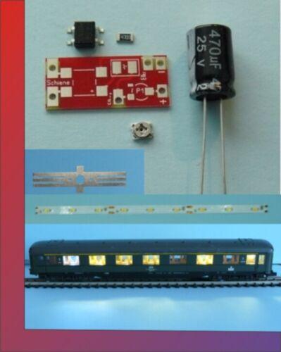 5x Waggonbeleuchtung Wagenbeleuchtung TT 150mm komp.incl.Radschl digital WW 4.0