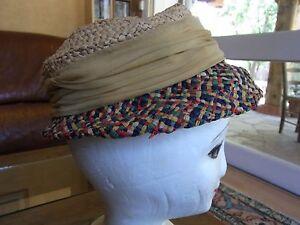ANCIEN-CHAPEAU-FEMME-RAPHIA-ANNEES-40-50-Old-woman-raffia-hat-sombrero-antiguo