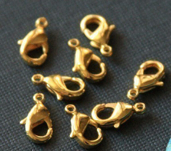 100 pcs of Solid copper Lobster clasps 12X6mm - Gold