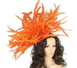 Very-Large-Burnt-Orange-Fascinator-Hat-for-weddings-ascot-proms-WIth-Headband-F3