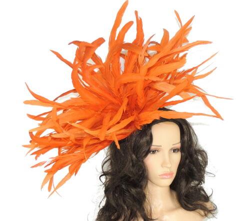 Very Large Burnt Orange Fascinator Hat for weddings//ascot//proms WIth Headband F3