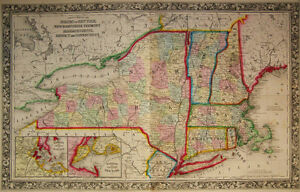 Map Of New York And Vermont.Details About 1860 Genuine Antique Map Of New York Massachusetts Vermont Etc A Mitchell