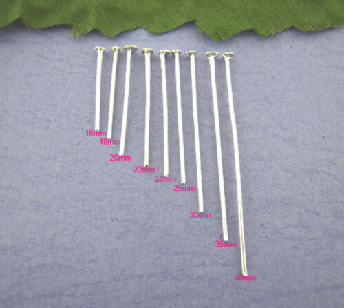 900 SILVER PLATED HEAD PINS~9 different sizes in pack~JEWELLERY MAKING UK 8G