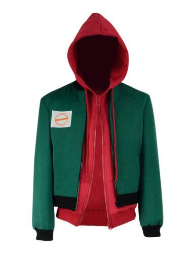 Miles Morales Cosplay Costume Green Jacket Spiderman Red Hoodie