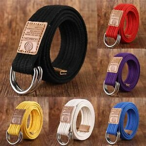 Mens-Womens-Military-Canvas-Double-D-Ring-Webbing-Belt-Metal-Buckle-Fabric