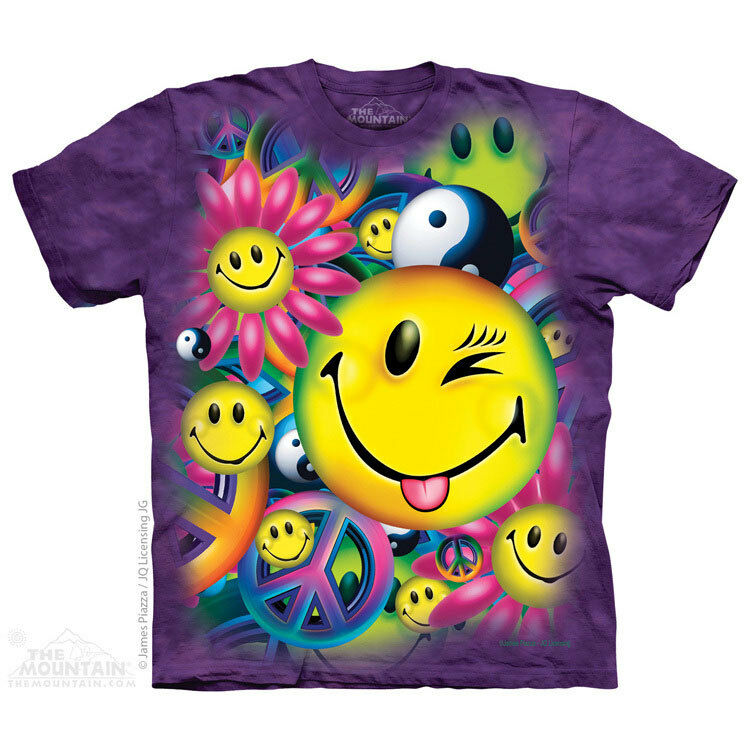 NEW PEACE AND HAPPINESS Hippy Purple 70's Smiley Face The Mountain T Shirt
