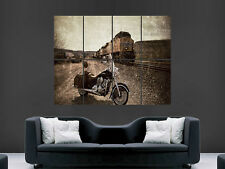 INDIAN CHIEF CLASSIC MOTOBIKE  MOTORCYCLE TRAIN ART WALL LARGE IMAGE  POSTER