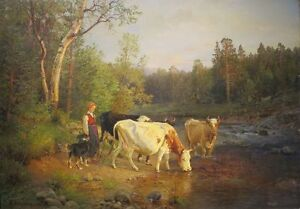 """perfect 36x24 oil painting handpainted on canvas """"girl,cattle,dog""""N7783"""