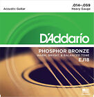 3 Sets D'Addario EJ18 Phosphor Bronze Heavy Acoustic Guitar Strings 14 - 59