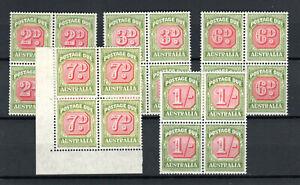 Australia-1946-57-Postage-Due-values-to-1s-MNH-blocks-of-4