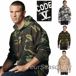 Image is loading Code-V-Mens-Camouflage-Pullover-Hooded-Sweatshirt-Camo- 42726faad8a