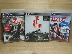 PS3 Horror Video Game Lot The Evil Within & Dead Island GOTY + Escape CIB Tested